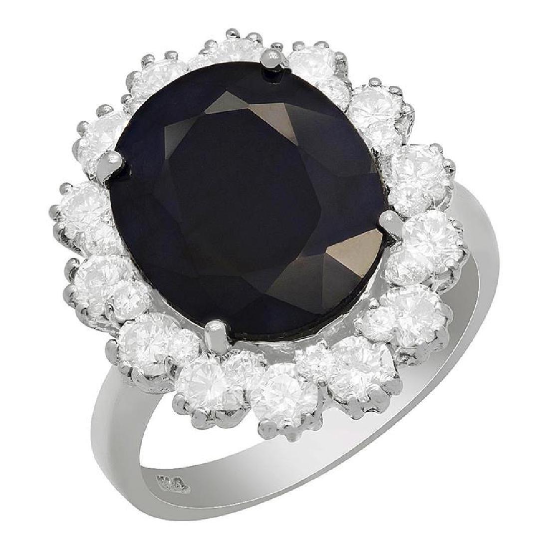 14k White Gold 6.17ct Sapphire 1.64ct Diamond Ring