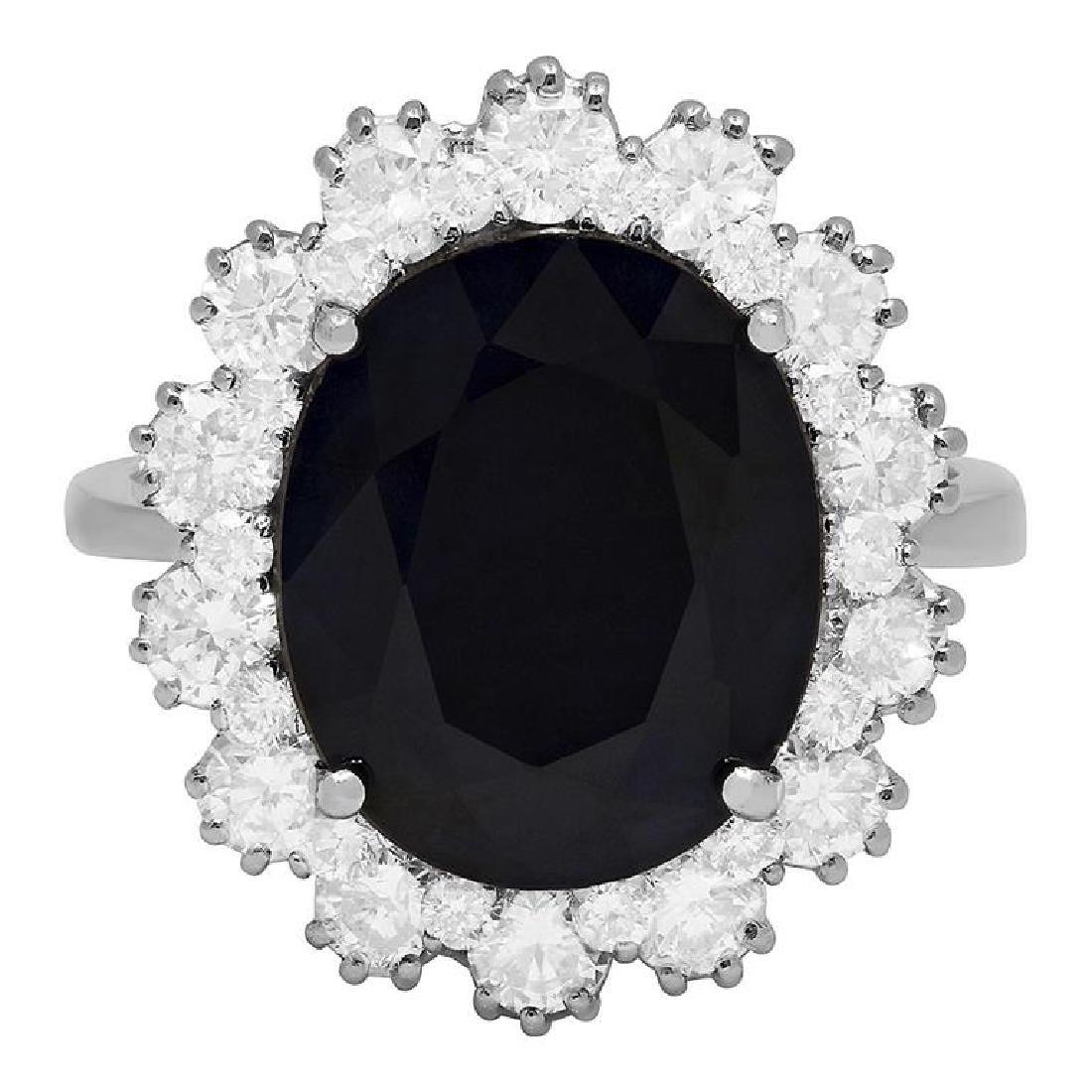 14k White Gold 6.17ct Sapphire 1.64ct Diamond Ring - 3