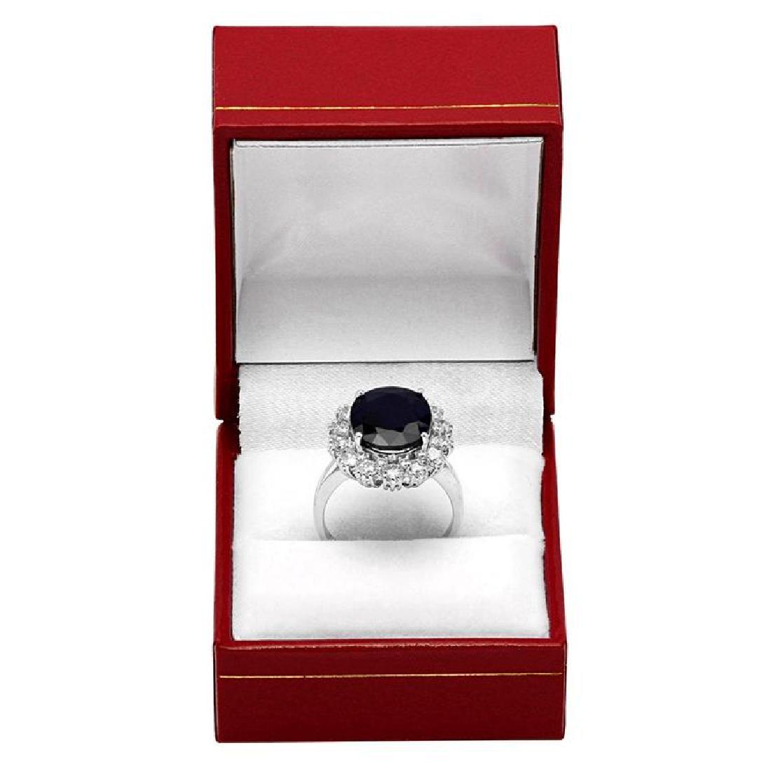 14k White Gold 6.17ct Sapphire 1.64ct Diamond Ring - 4