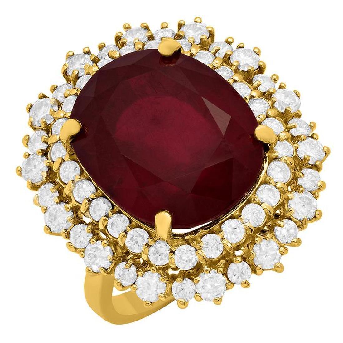 14k Yellow Gold 17.15ct Ruby 2.13ct Diamond Ring