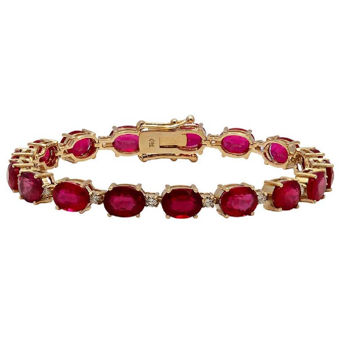 14k Yellow Gold 29.89ct Ruby 0.78ct Diamond Bracelet