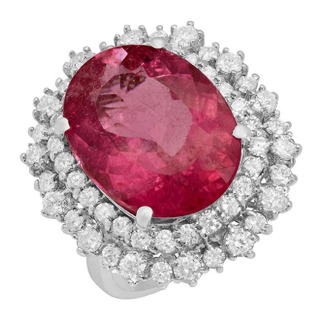 14k White Gold 10.32ct Pink Tourmaline 1.89ct Diamond