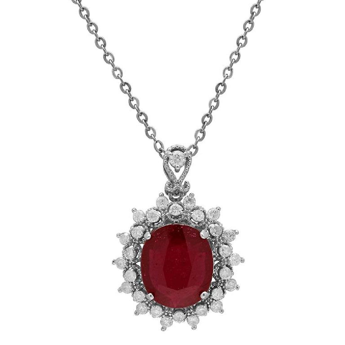 14k White Gold 5.41ct Ruby 0.86ct Diamond Pendant
