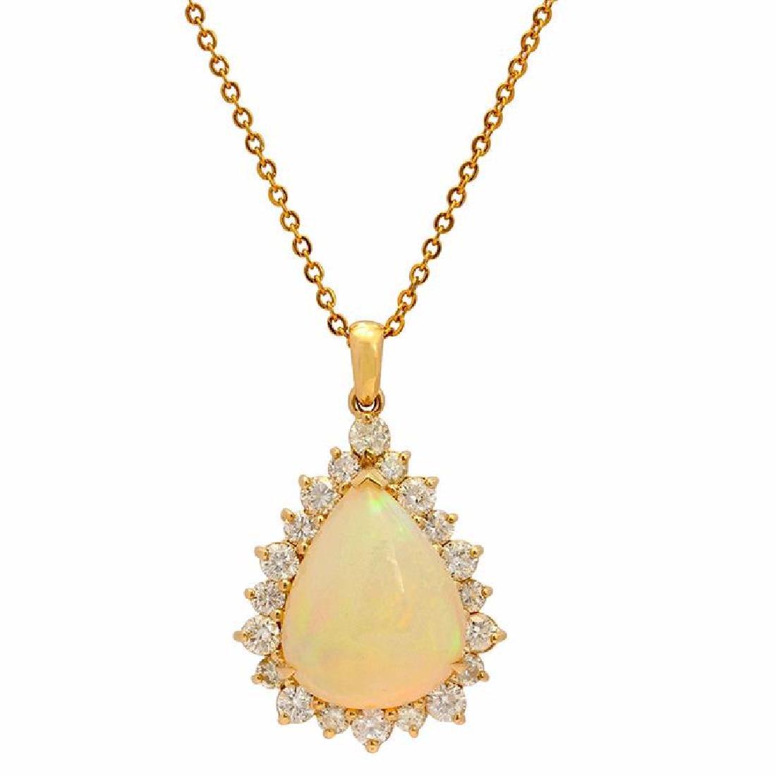 14k Yellow Gold 10.88ct Ethiopian Opal 1.09ct Diamond