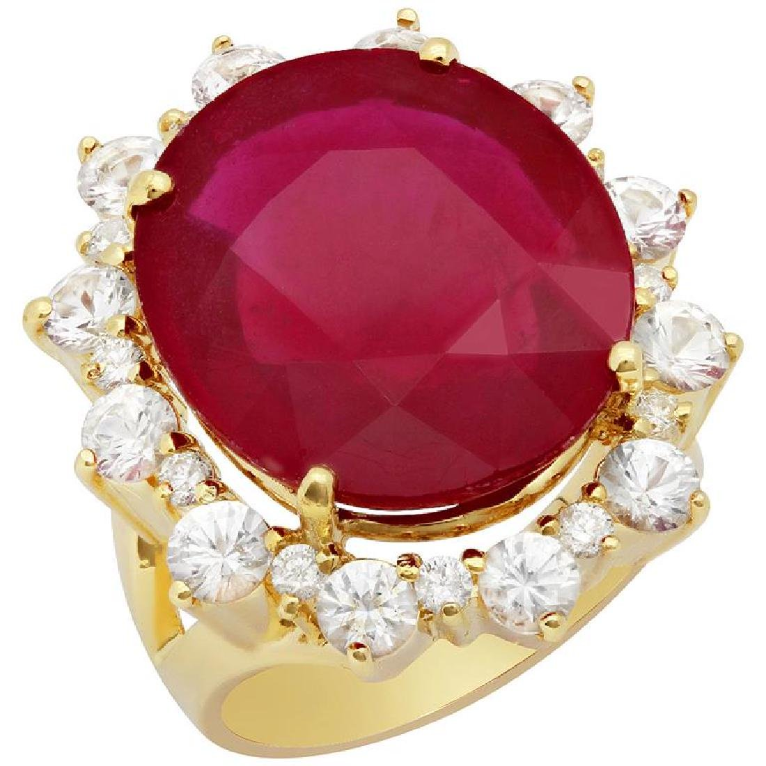 14k Yellow Gold 20.66ct Ruby 2.41ct Sapphire 0.41ct