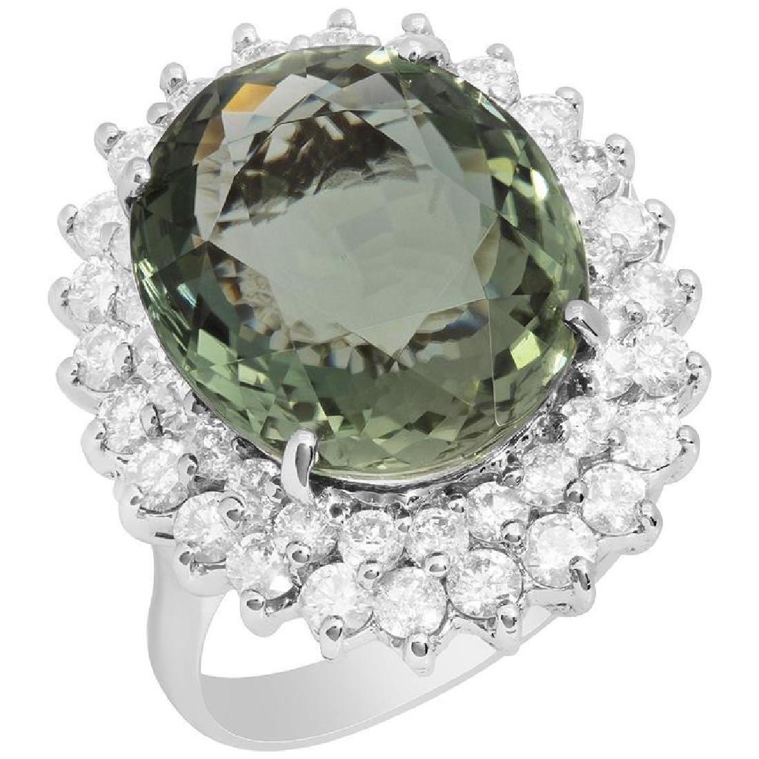 14k White Gold 11.11ct Green Tourmaline 2.11ct Diamond