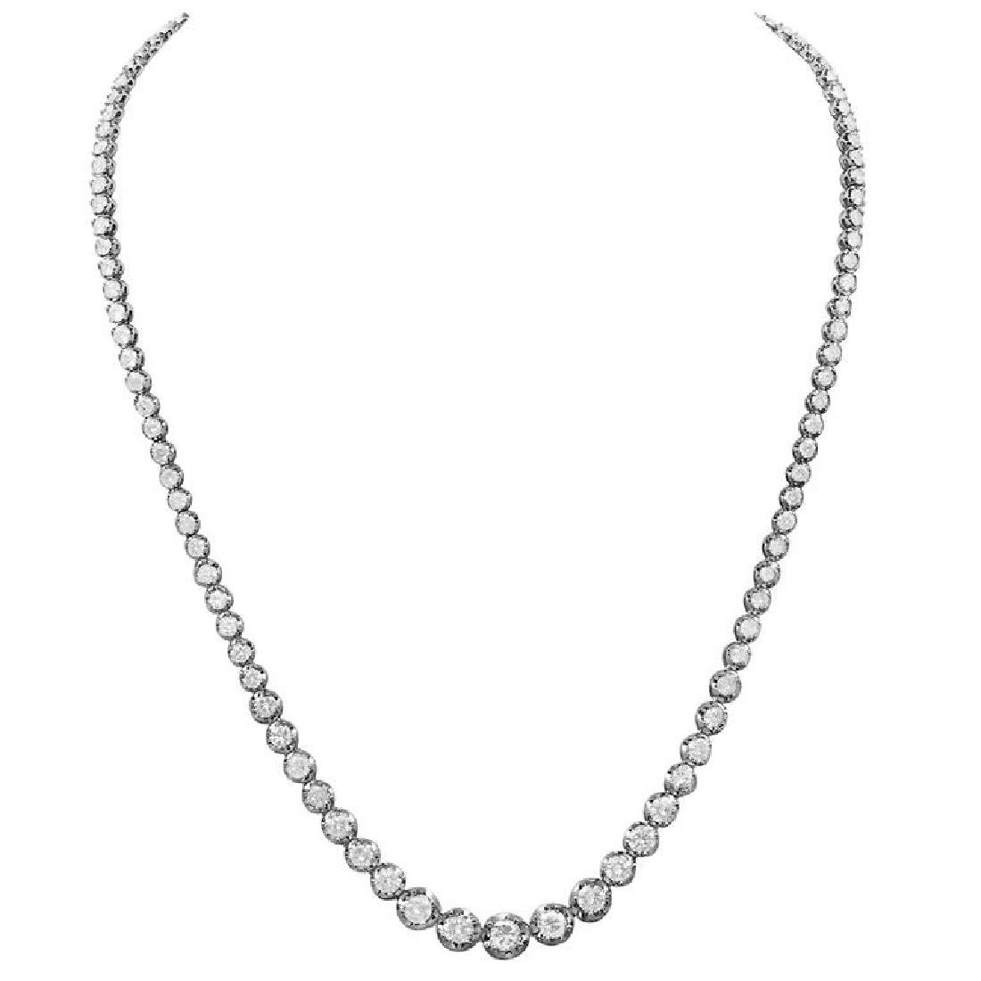 14k White Gold 11.24ct Diamond Necklace
