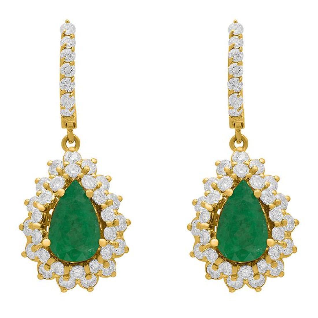 14k Yellow Gold 3.51ct Emerald 3.09ct Diamond Earrings