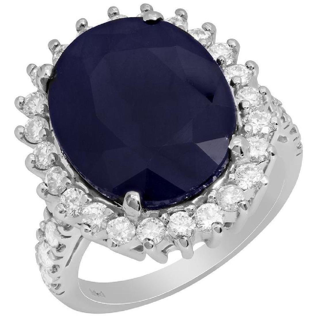 14k White Gold 11.91ct Sapphire 1.08ct Diamond Ring