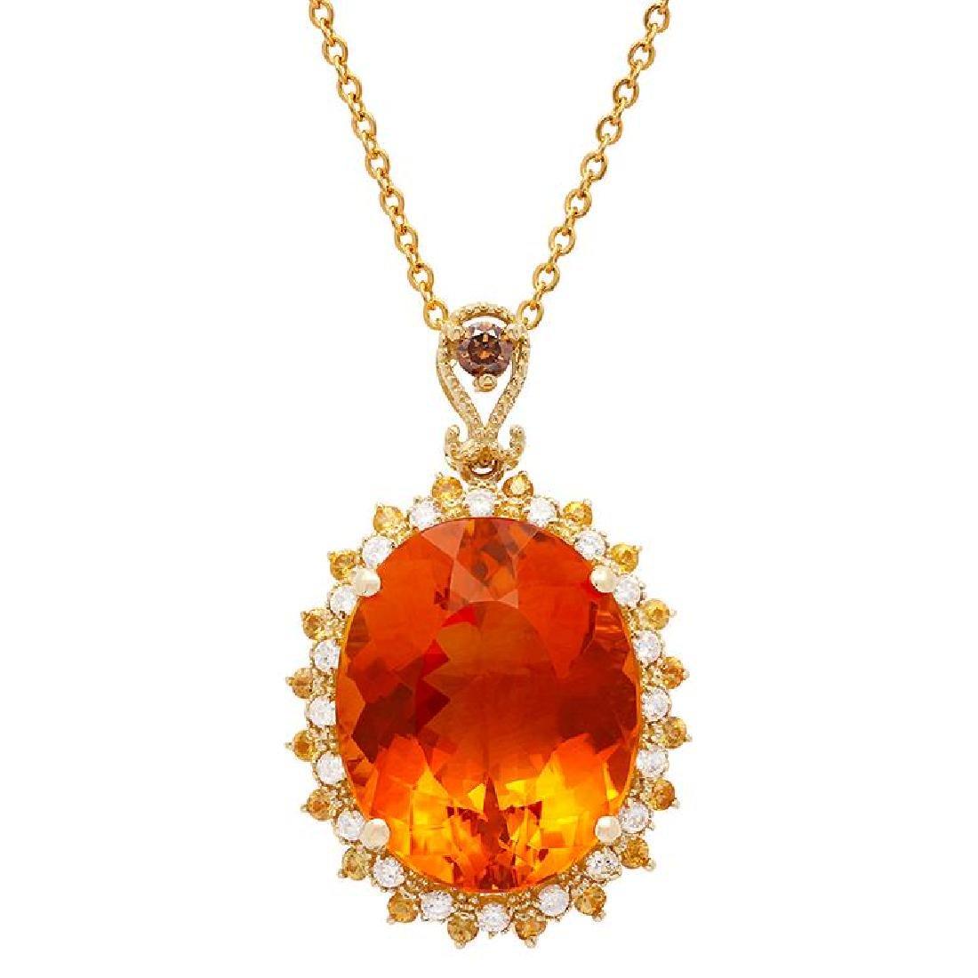 14k Yellow Gold 22.55ct Citrine 0.35ct Orange Sapphire
