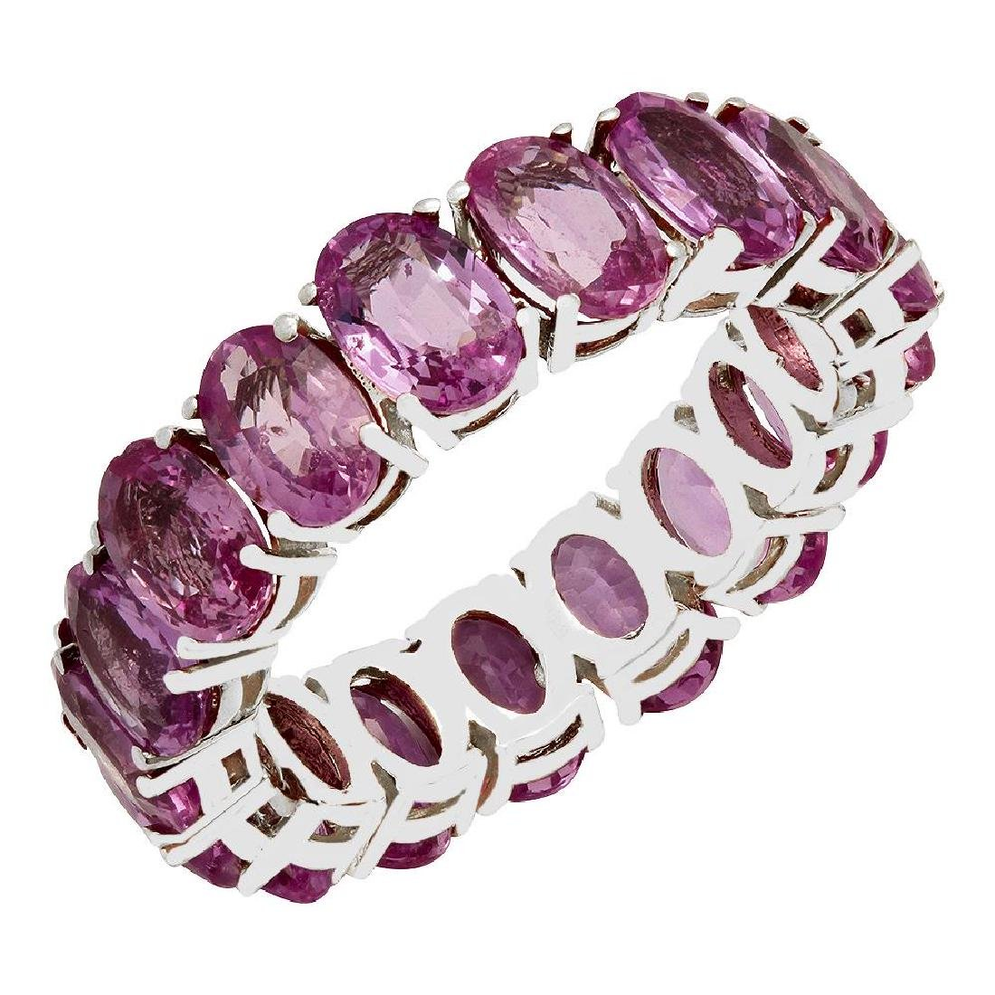14k White Gold 10.12ct Pink Sapphire Eternity Band