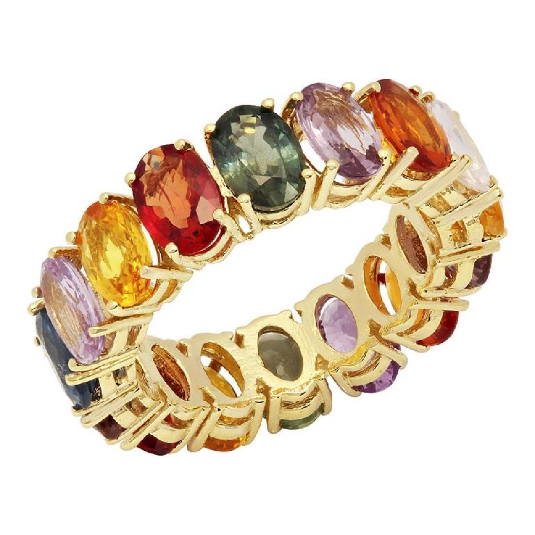 14k Yellow Gold 8.40ct Sapphire Eternity Band