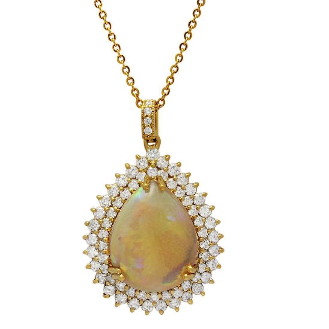 14k Yellow Gold 15.42ct Ethiopian Opal 3.72ct Diamond