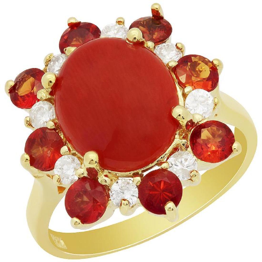14k Yellow Gold 2.15ct Coral 1.42ct Orange Sapphire