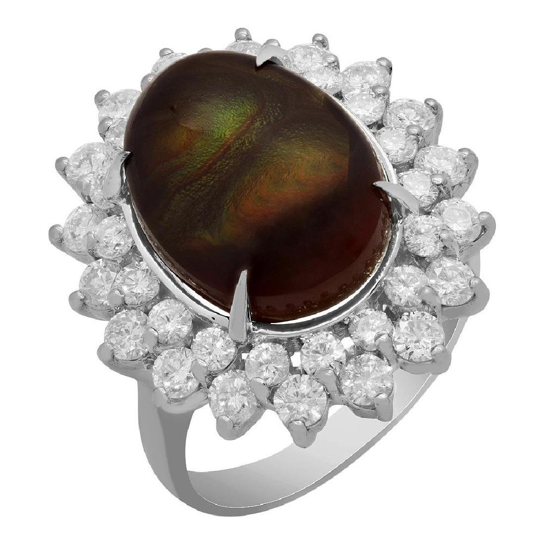 14k White Gold 4.18ct Fire Agate 1.99ct Diamond Ring