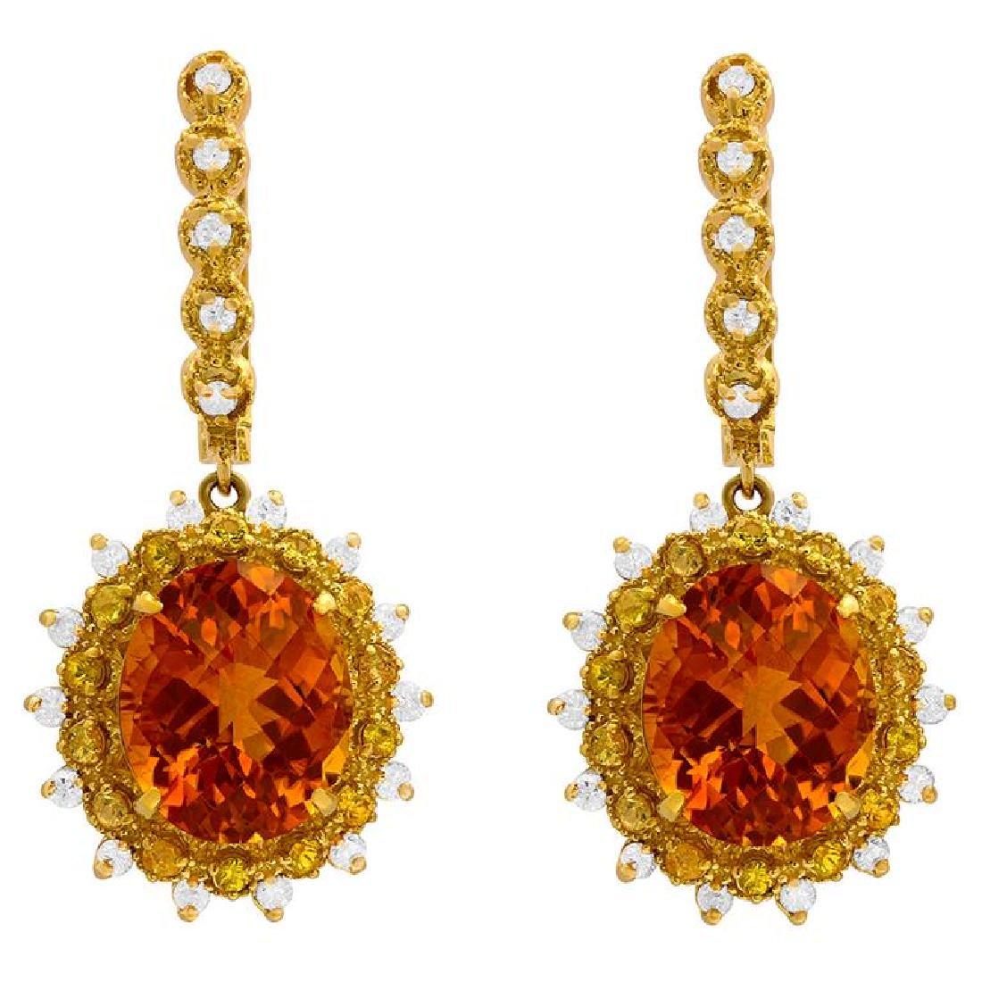 14k Yellow Gold 13.50 Citrine & 1.00ct Sapphire 1.02ct