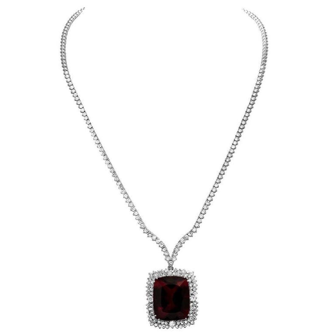 14k White Gold 33.36ct Purple Tourmaline 7.35ct Diamond