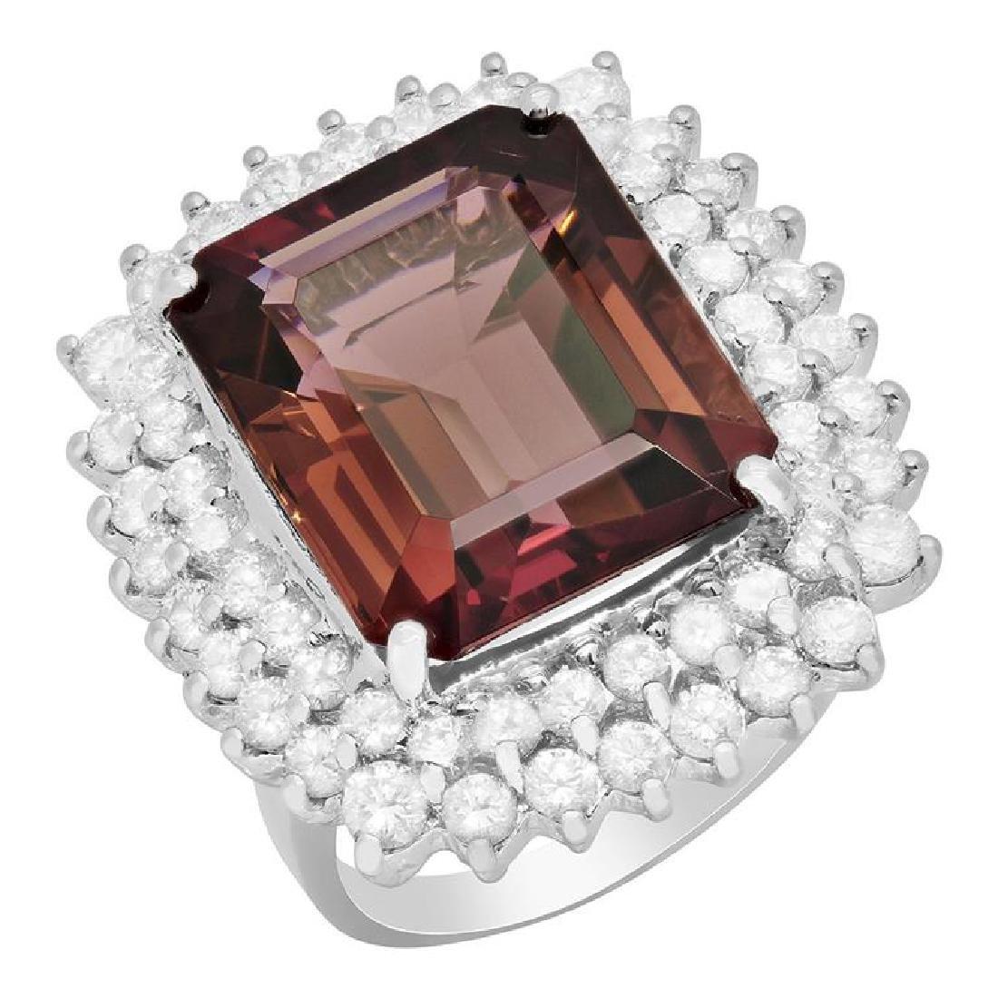 14k White Gold 14.71ct Purple Tourmaline 2.30ct Diamond