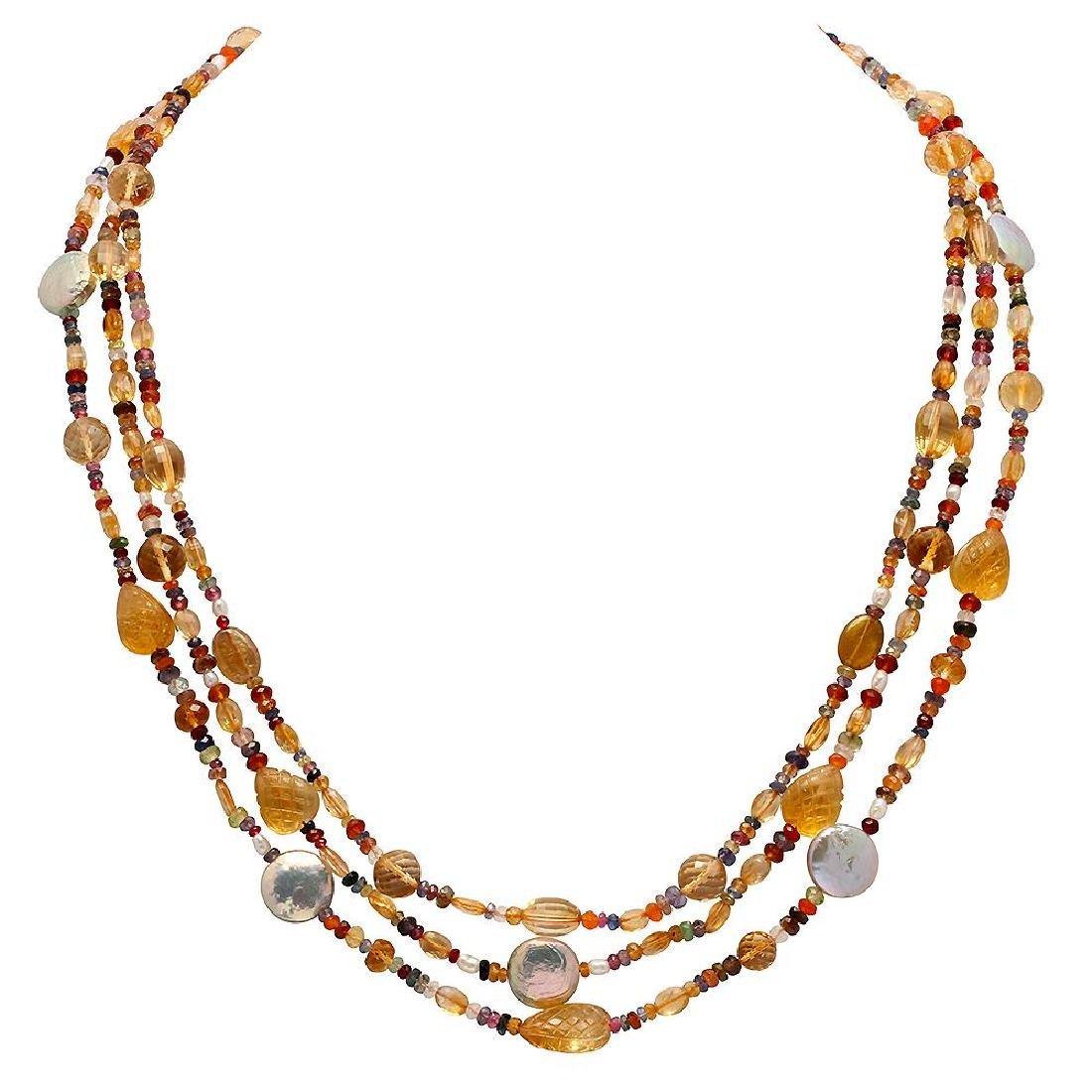 175.00ct Multi-Stone Three Strands Necklace