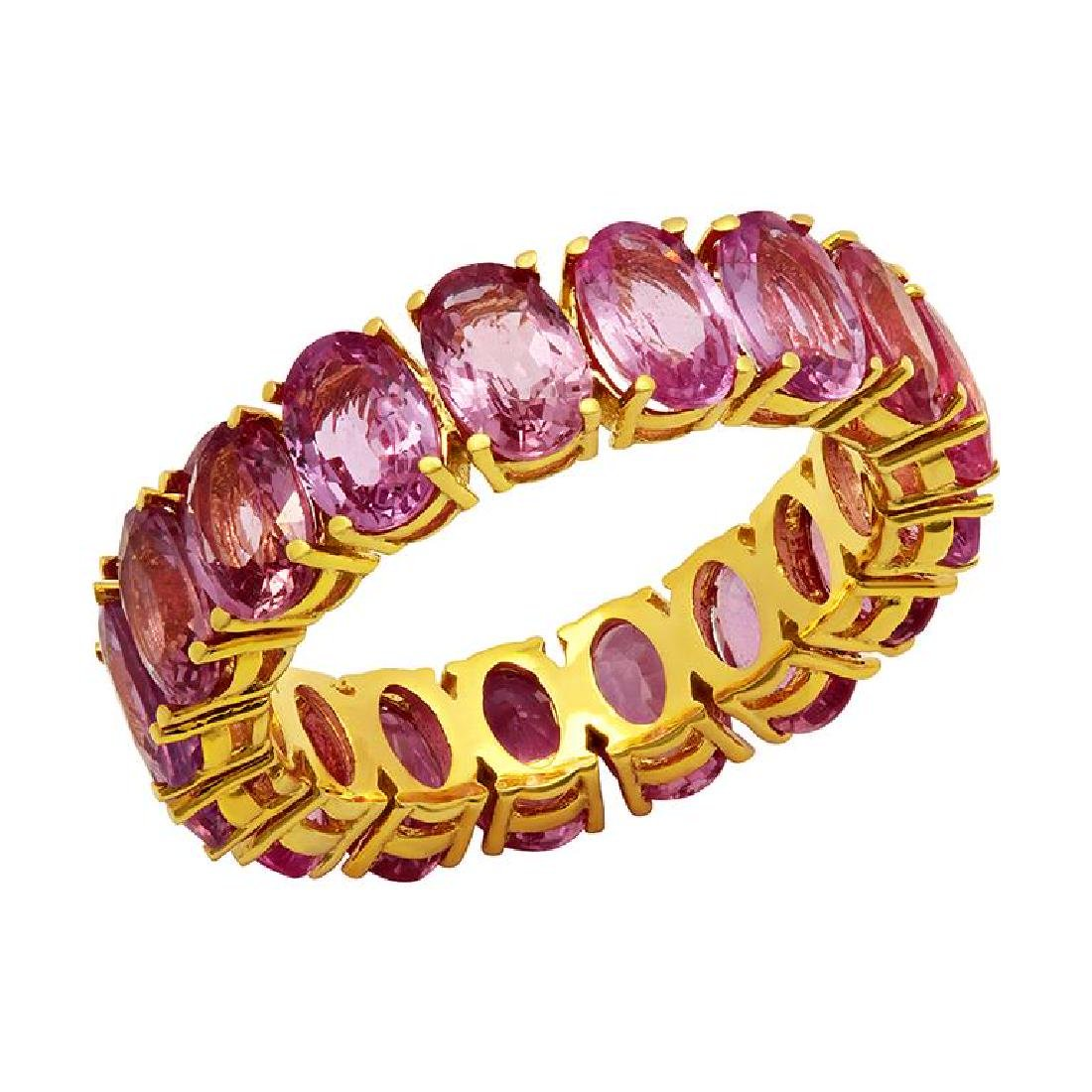 14k Yellow Gold 10.01ct Pink Sapphire Eternity Band