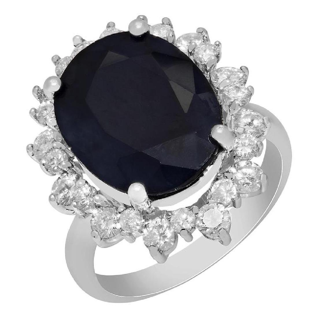 14k White Gold 10.75ct Sapphire 1.69ct Diamond Ring