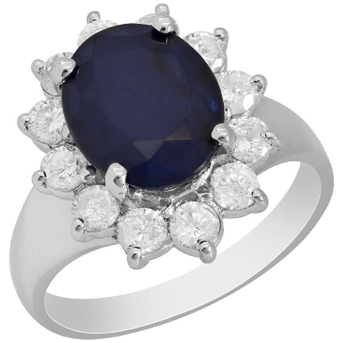 14k White Gold 5.06ct Sapphire 1.08ct Diamond Ring