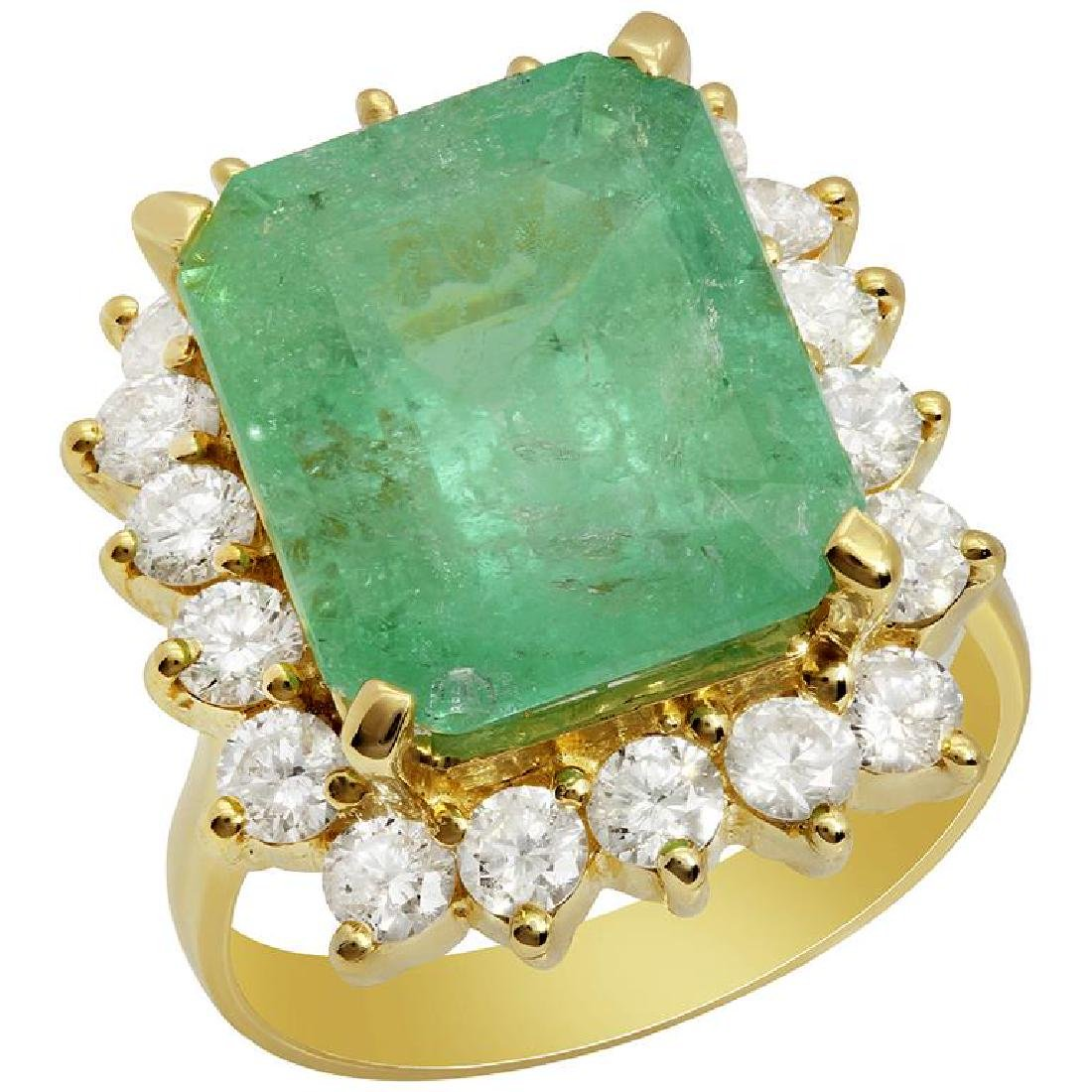 14k Yellow Gold 8.95ct Emerald 1.74ct Diamond Ring