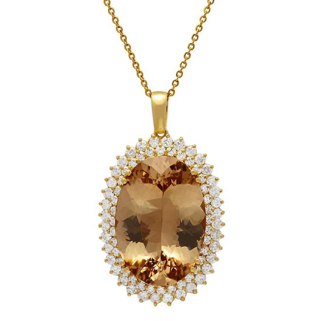 14k Yellow Gold 39.88ct Morganite 4.21ct Diamond