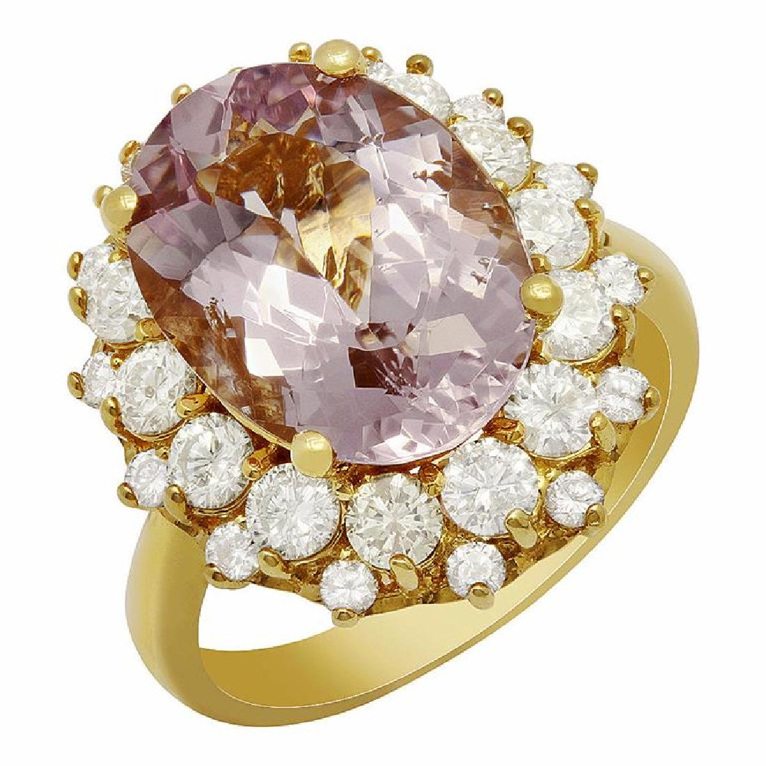 14k Yellow Gold 5.94ct Kunzite 1.72ct Diamond Ring