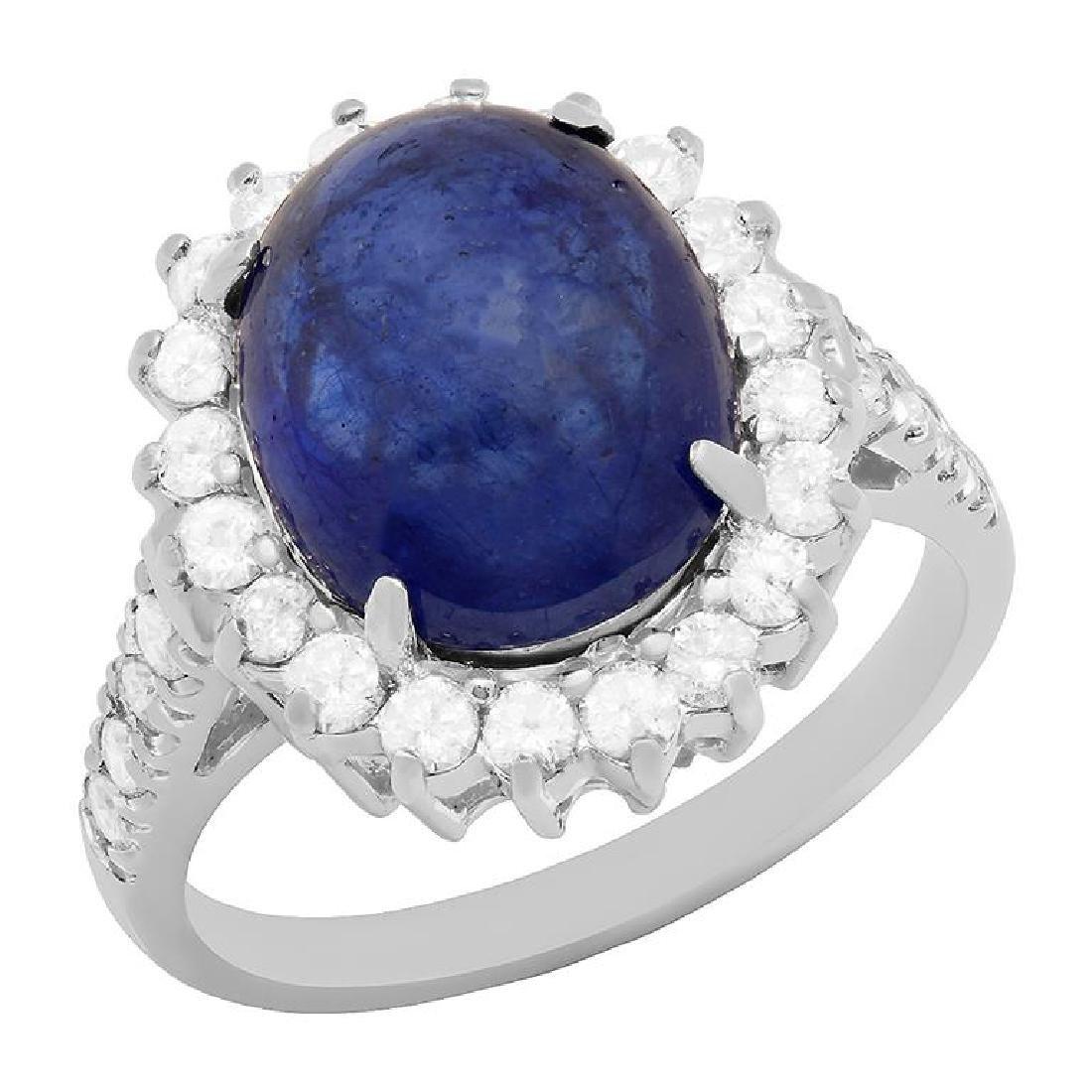 14k White Gold 11.50ct Sapphire 1.22ct Diamond Ring