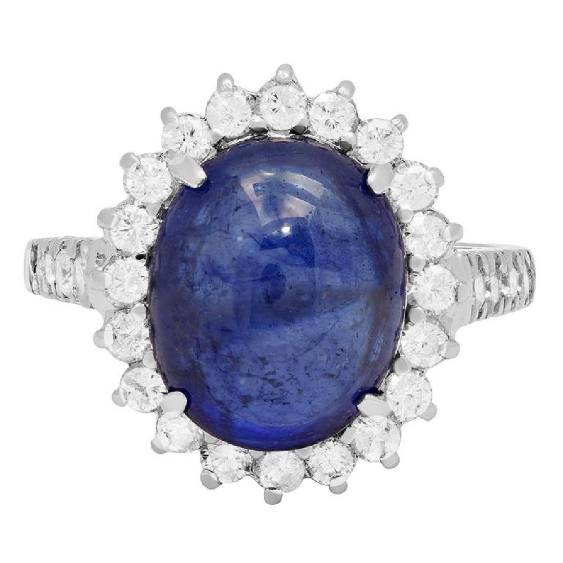 14k White Gold 11.50ct Sapphire 1.22ct Diamond Ring - 3