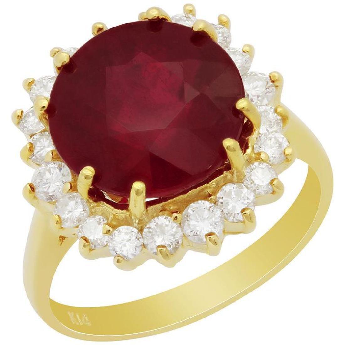 14k Yellow Gold 7.13ct Ruby 0.86ct Diamond Ring