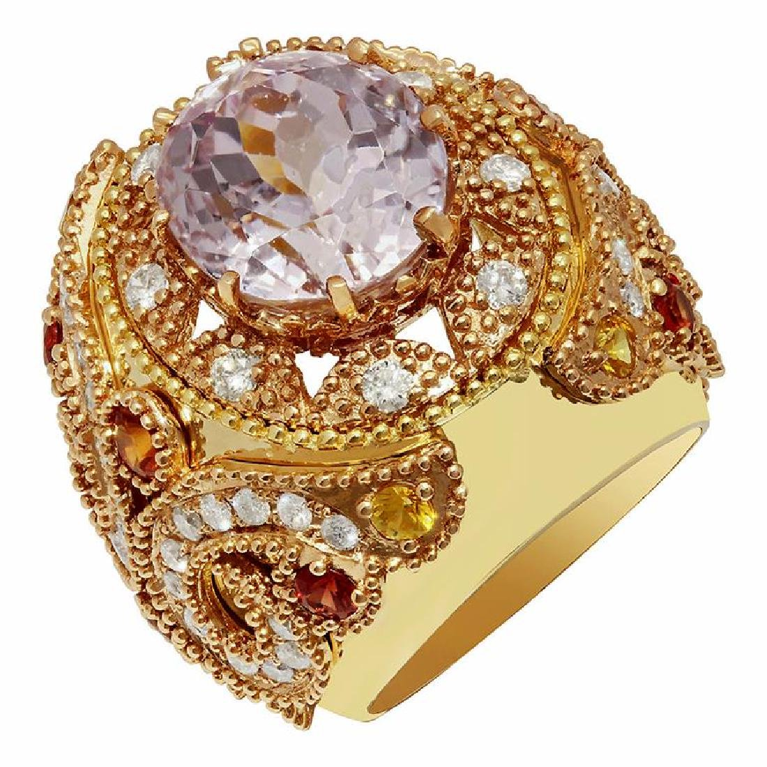 14k Yellow Gold 15.08ct Kunzite 1.20ct Sapphire 1.58ct