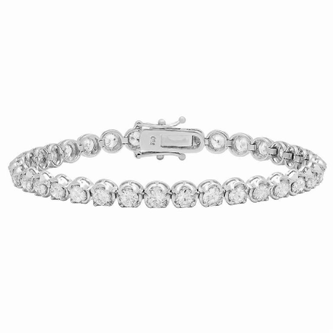 18k White Gold 8.19ct Diamond Tennis Bracelet