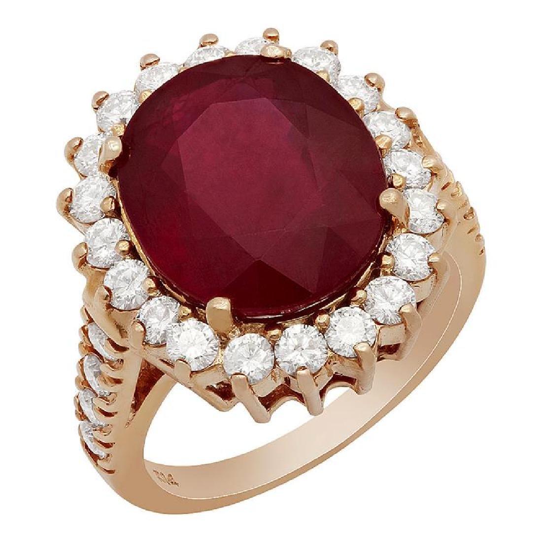 14k Rose Gold 9,89ct Ruby 1.39ct Diamond Ring