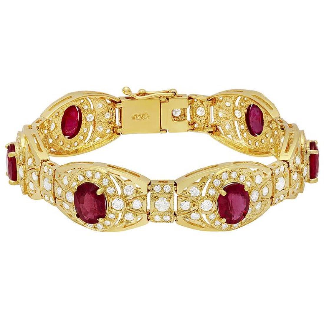 14k Yellow Gold 18.11ct Ruby 6.72ct Diamond Bracelet