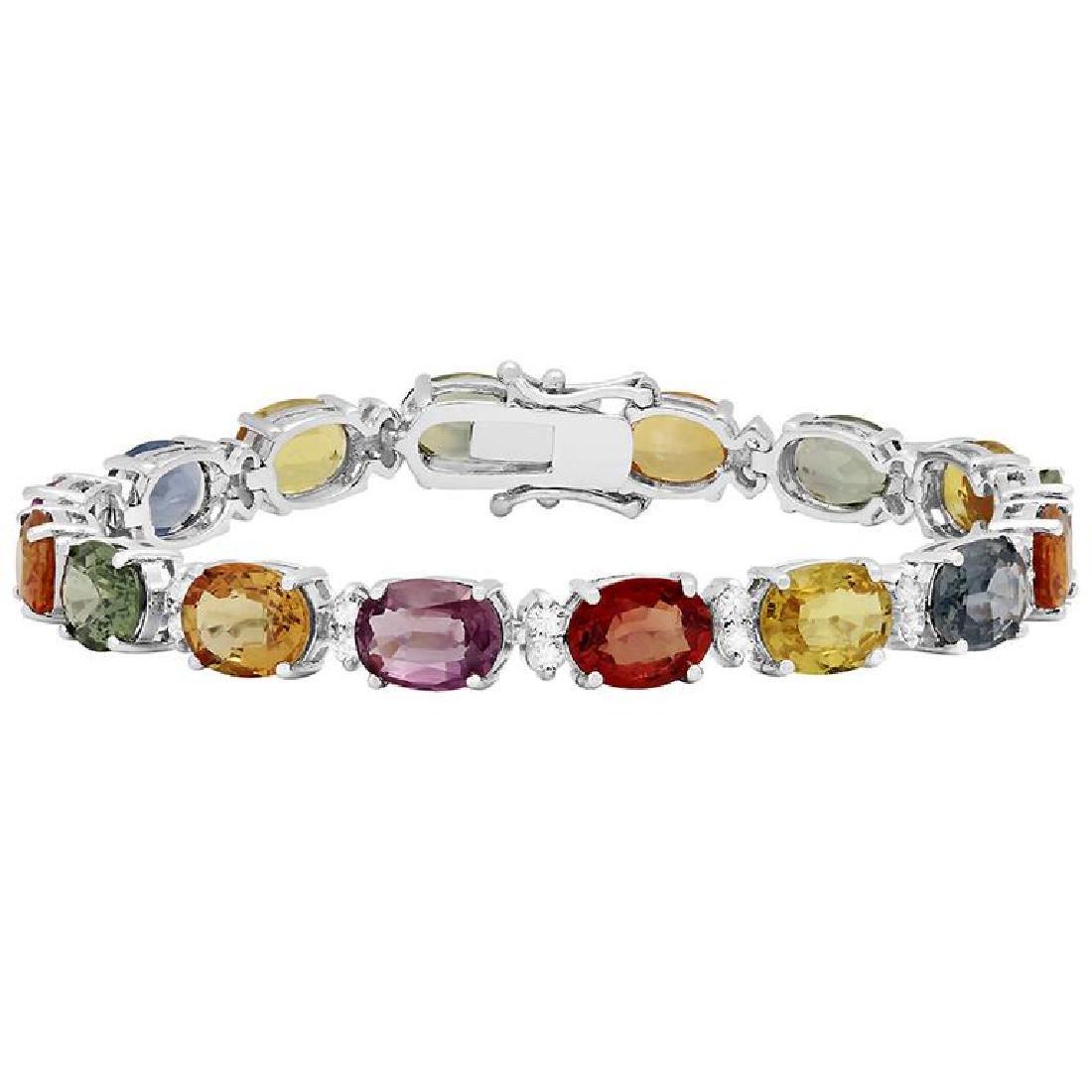 14k White Gold 33.10ct Sapphire 1.37ct Diamond Bracelet