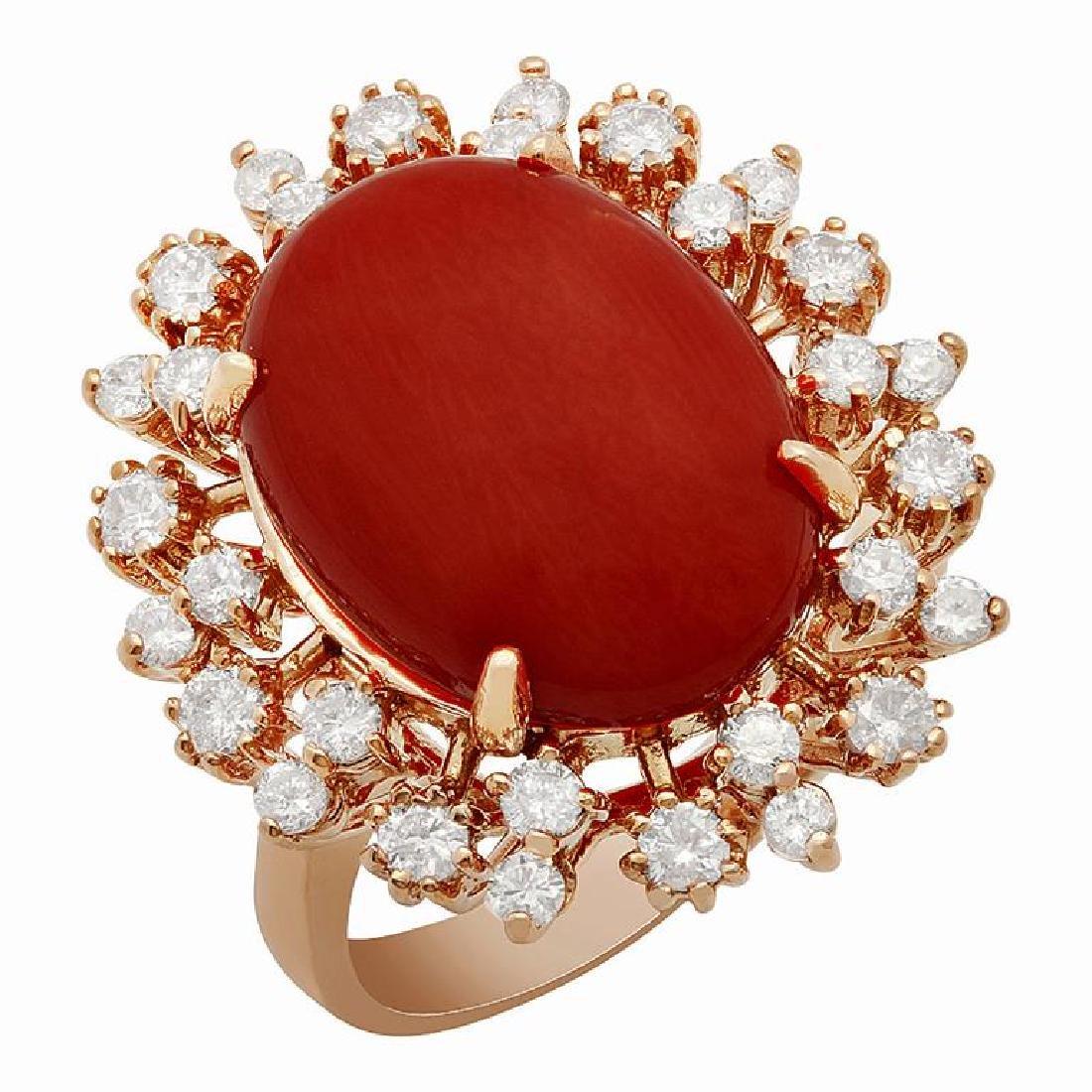 14k Rose Gold 7.58ct Coral 1.01ct Diamond Ring
