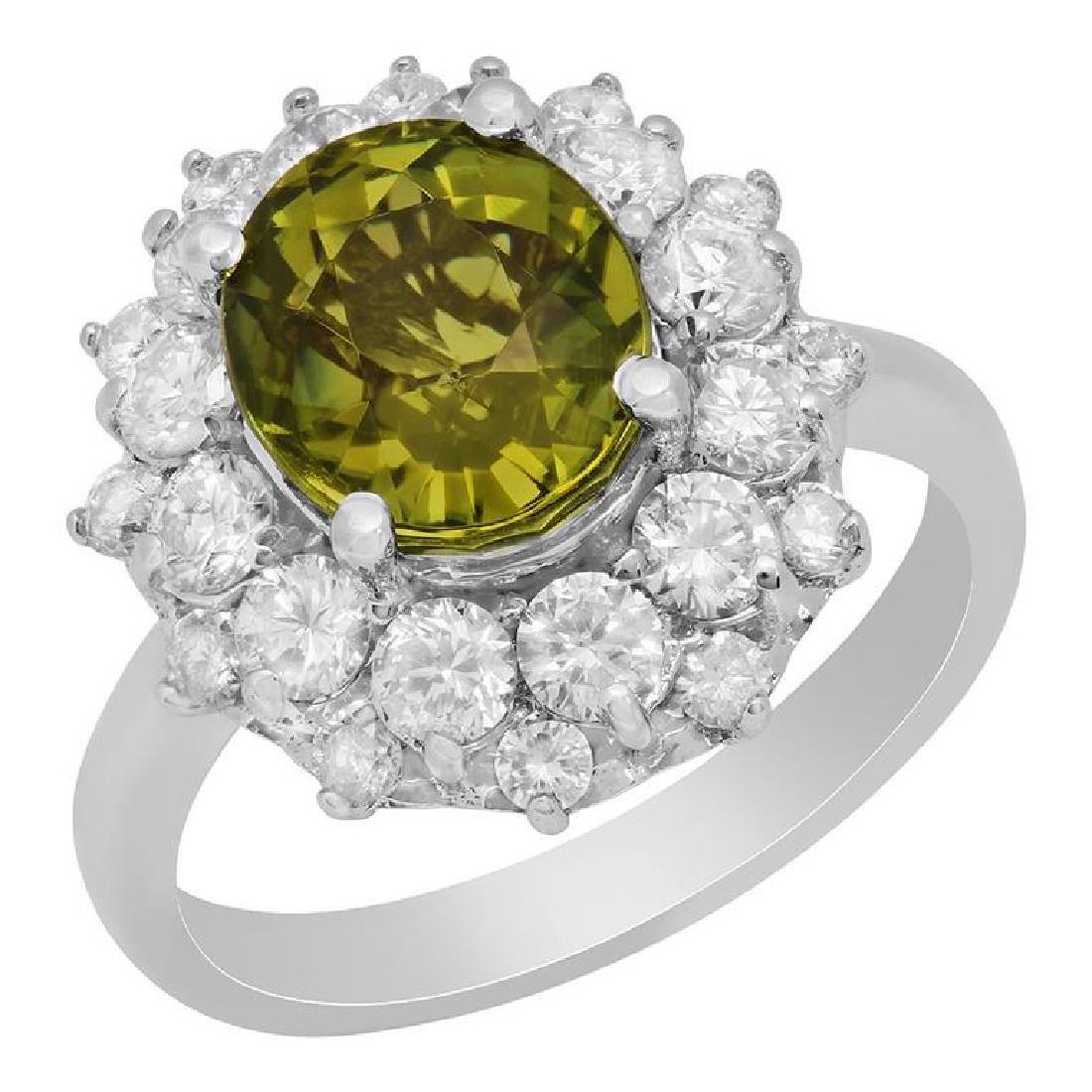 14k White Gold 3.57ct Green Tourmaline 1.53ct Diamond