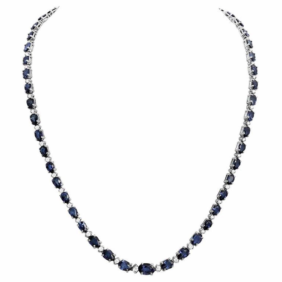 14k White Gold 23.90ct Sapphire 1.09ct Diamond Necklace