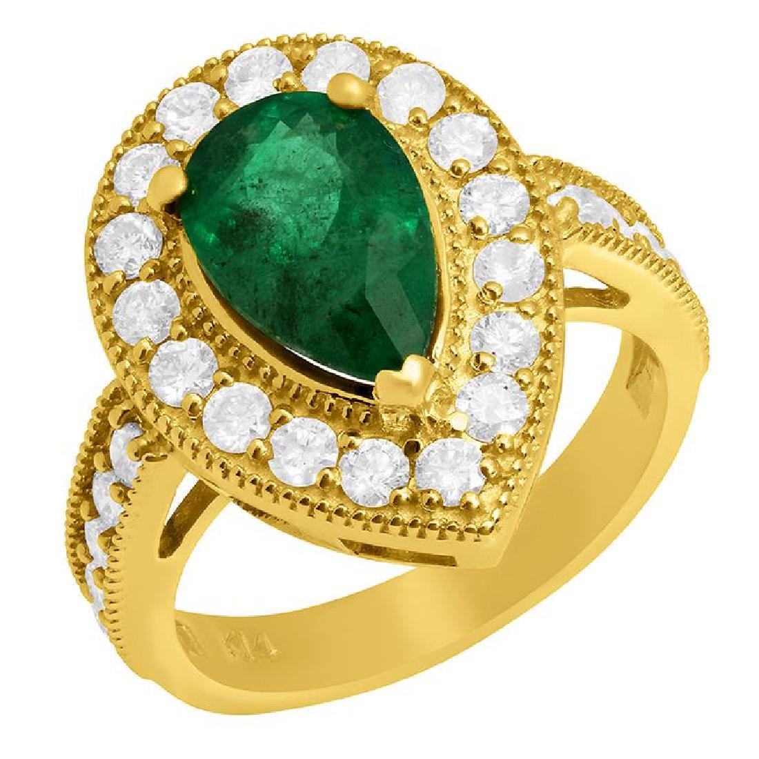 14k Yellow Gold 2.19 Emerald 1.23ct Diamond Ring