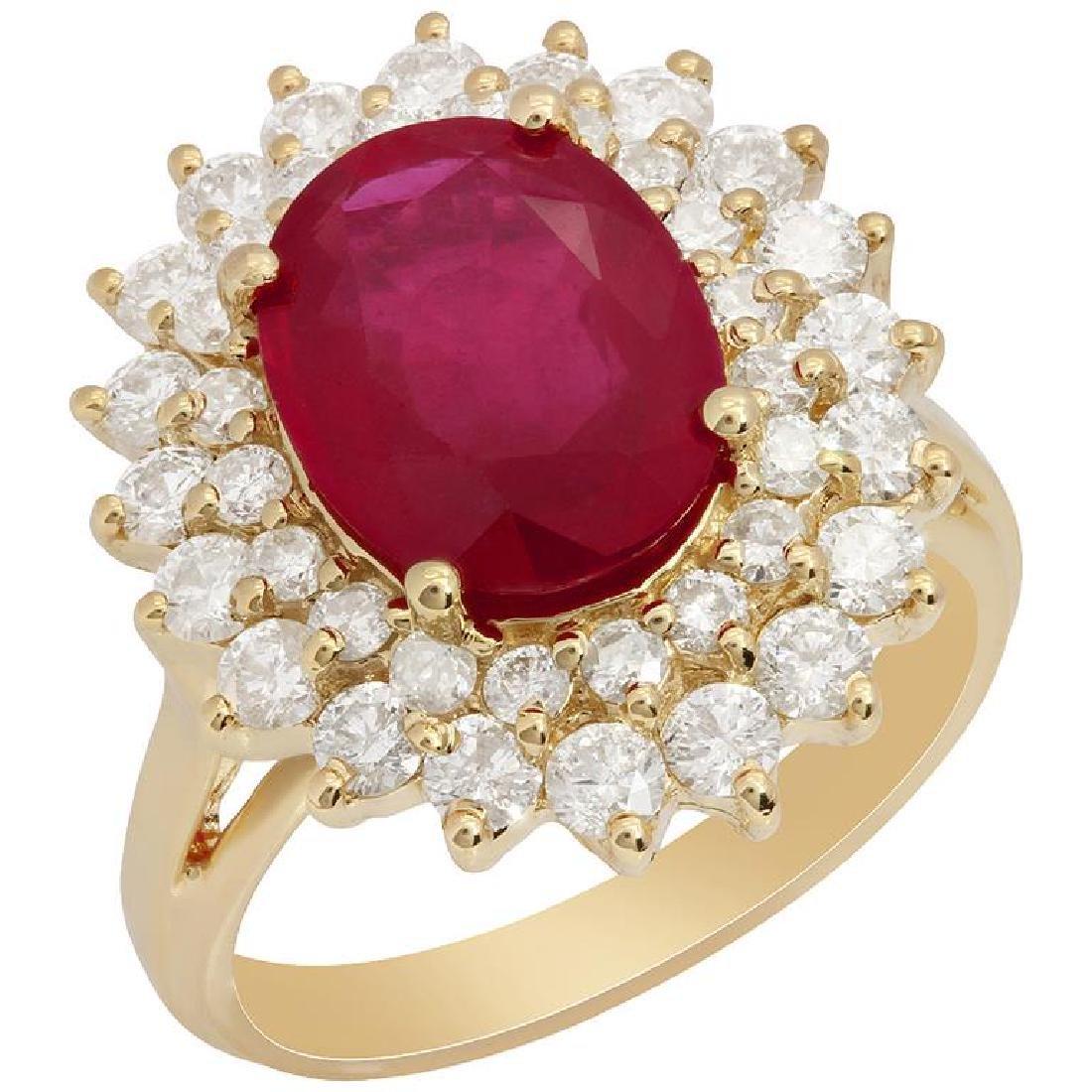14k Yellow Gold 3.77ct Ruby 1.56ct Diamond Ring
