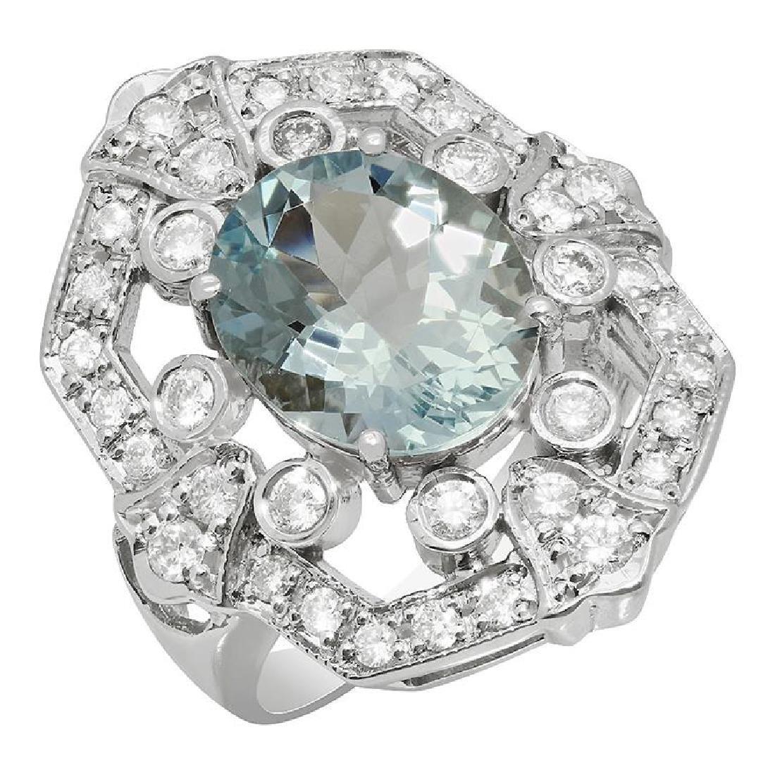 14k White Gold 3.86ct Aquamarine 1.01ct Diamond Ring