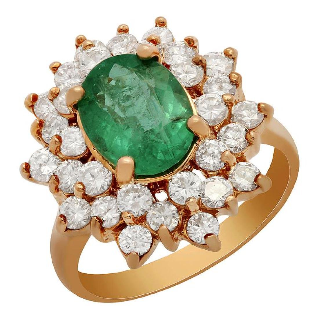 14k Rose Gold 2.10ct Emerald 1.69ct Diamond Ring
