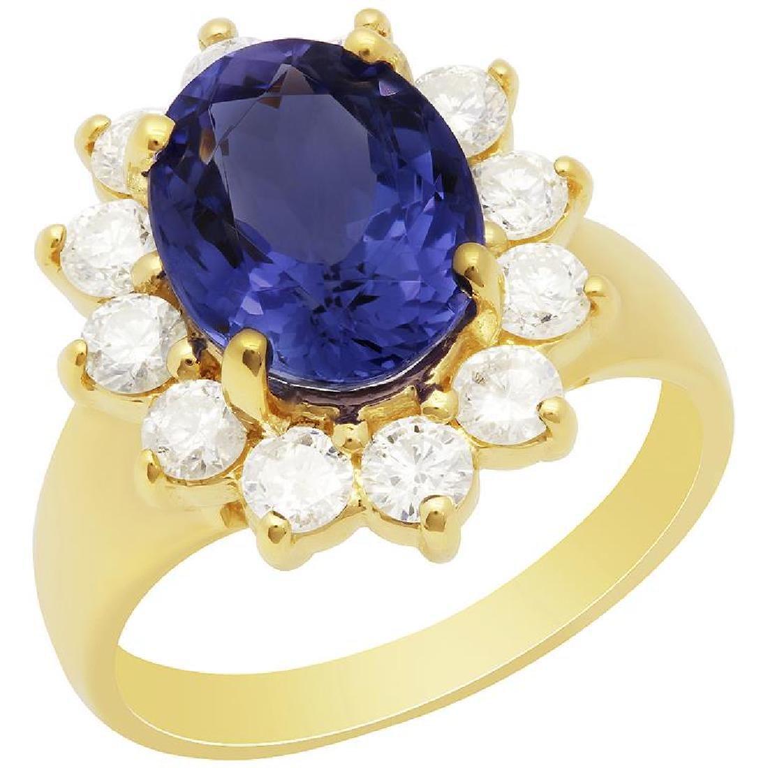 14k Yellow Gold 3.93ct Tanzanite 1.19ct Diamond Ring