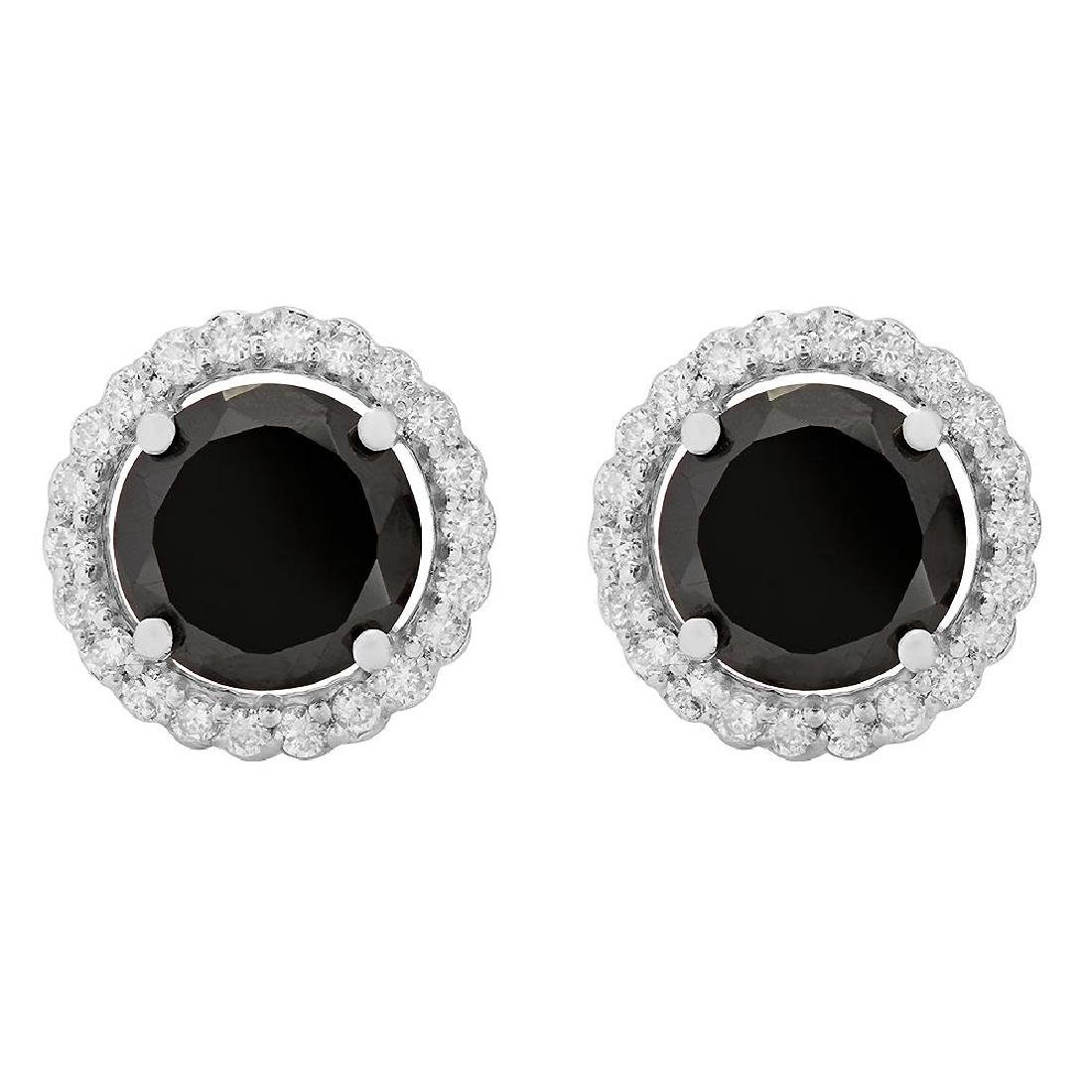 14k White Gold 4.45ct & 0.74ct Diamond Earrings