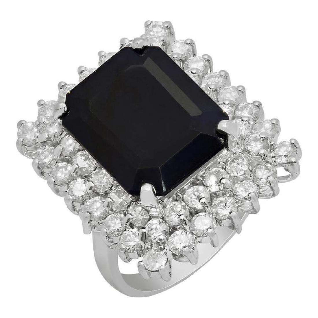 14k White Gold 10.26ct Sapphire 2.71ct Diamond Ring