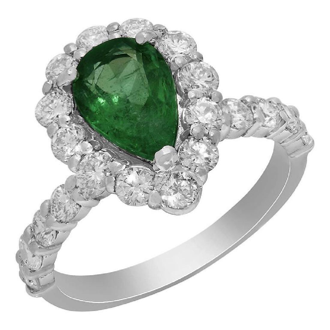 14k White Gold 1.59ct Emerald 1.49ct Diamond Ring
