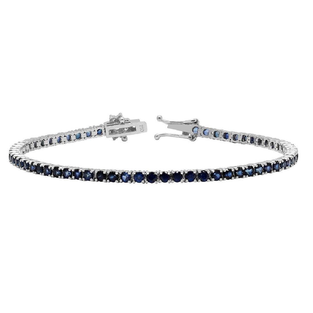 14k White Gold 5.10ct Sapphire 0.42ct Diamond Bracelet