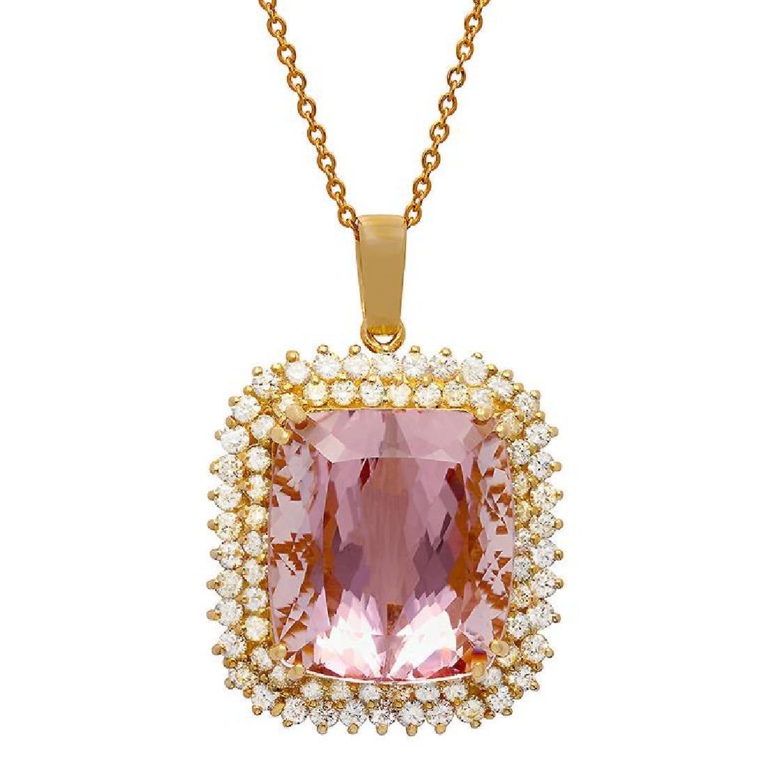 14k Yellow Gold 48.74ct Kunzite 3.03ct Diamond Pendant